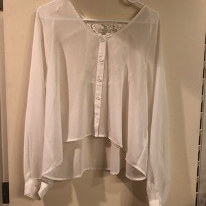 LF Store Sheer White Lace Open Back Blouse